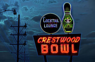 Photograph - Crestwood Bowl Neon Sign by Robert FERD Frank