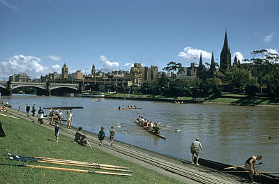 Photograph - Crew Team Rowing On The Yarra River.  P by John Dominis
