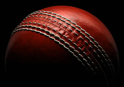 Close Up Photograph - Cricket Ball On Black Background by Ian Mckinnell