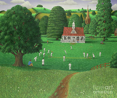 Painting - Cricket Match At St. Marys Grange, Wiltshire, 1986  by Larry Smart