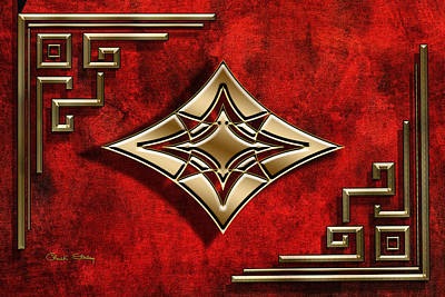 Digital Art - Crimson And Gold 1 by Chuck Staley