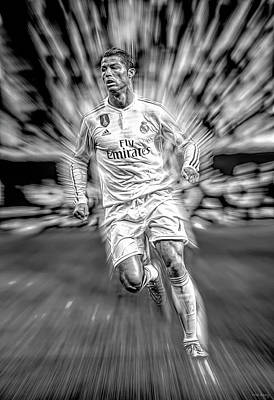 Athletes Mixed Media - Cristiano by Mal Bray