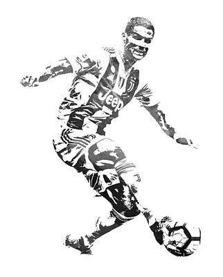 Cristiano Ronaldo Juventus Water Color Pixel Art 3 Art Print