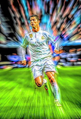 Athletes Royalty-Free and Rights-Managed Images - Cristiano Ronaldo by Mal Bray