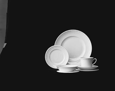Photograph - Crockery Against Black Background by Tom Kelley Archive