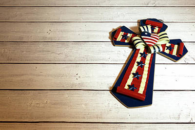Photograph - Cross With American Flag by Miriam Bade