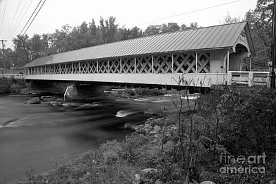 Photograph - Crossing The Ashuelot River Black And White by Adam Jewell
