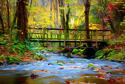 Photograph - Crossing The Creek Painting by Debra and Dave Vanderlaan
