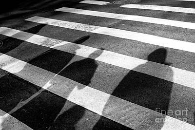 Photograph - Crossings Shadow People New York City by John Rizzuto