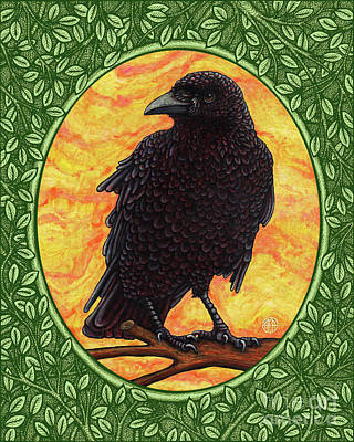 Painting - Crow Portrait - Green Border by Amy E Fraser