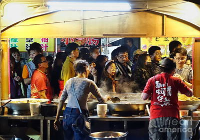 Photograph - Crowd Of People Visit The Food Stalls by Yali Shi