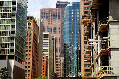 Financial District Photograph - Crowded Downtown Chicago Old And New by Pastorscott