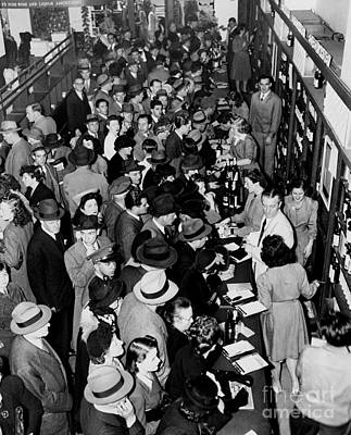 Photograph - Crowds Storm The Counter At Macys by New York Daily News Archive