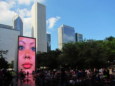 Photograph - Crown Fountain Face Art Chicago by Marilyn Hunt