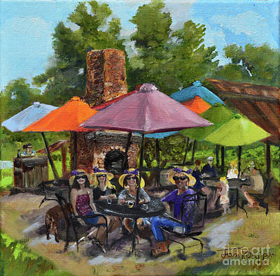 Painting - Crush Ladies Wearing Hats 2018- Cartecay Vineyards-cartecay by Jan Dappen