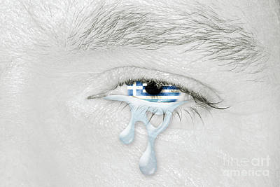 Photograph - Crying Eye With Greece Flag by Benny Marty