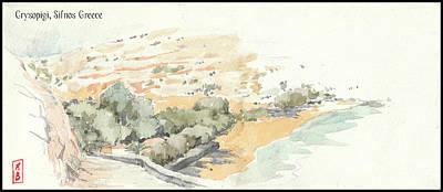 Drawing - Crysopigi beach  by Javier Gonzalez de Castejon