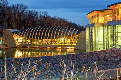 Photograph - Crystal Bridges Museum Night Architecture Illumination by Gregory Ballos