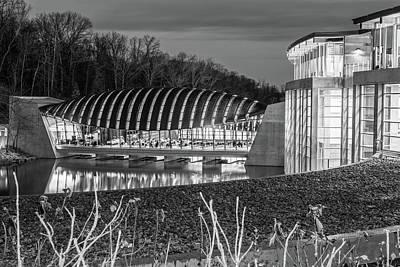 Photograph - Crystal Bridges Museum Night Architecture Illumination - Monochrome by Gregory Ballos