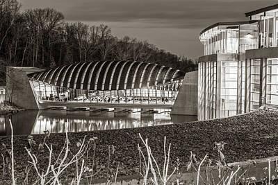 Photograph - Crystal Bridges Museum Night Architecture Illumination - Sepia by Gregory Ballos