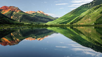 Robert Bellomy Royalty-Free and Rights-Managed Images - Crystal Lake Red Mountain Reflection by Robert Bellomy
