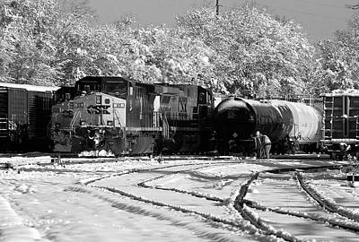Photograph - Csx #65 In The Snow 10 B W 1 by Joseph C Hinson Photography