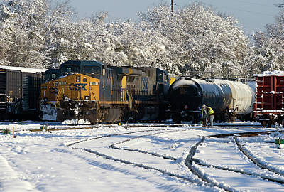 Photograph - Csx #65 In The Snow 10 by Joseph C Hinson Photography