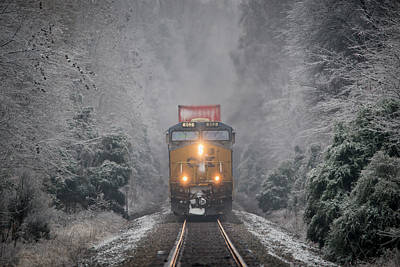 Transportation Royalty-Free and Rights-Managed Images - CSX intermodal through an Ice Forest at Mortons Gap Ky by Jim Pearson