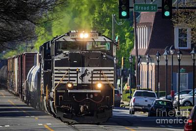 Photograph - Csx Train - Downtown Augusta Ga 6th Street by Sanjeev Singhal