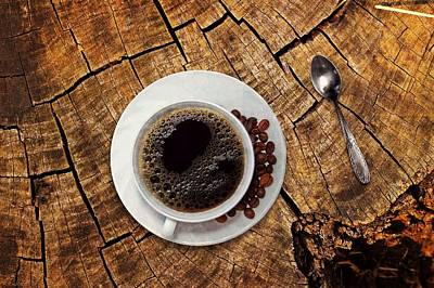 Cup Of Coffe On Wood Art Print