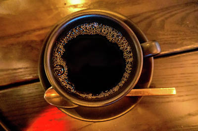 Photograph - Cup Of Dark Coffee Espresso On  Wooden Table by Alex Grichenko