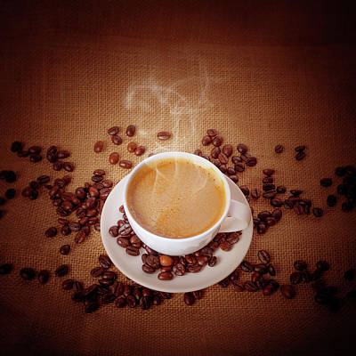 Photograph - Cup Of Fresh Cappuccino On Burlap by Sankai