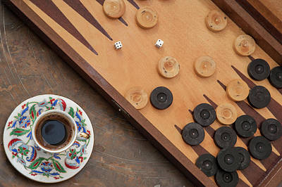 Backgammon Photograph - Cup Of Turkish Coffee And Backgammon by Steve Outram