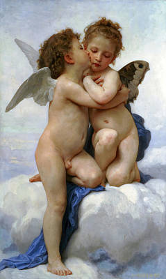 Photograph - Cupid And Psyche by William Bouguereau
