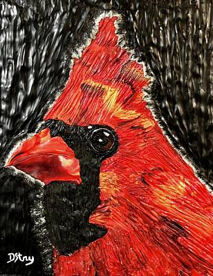 Mixed Media - Curious Cardinal by Deborah Stanley