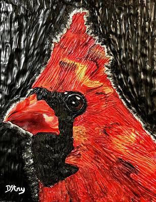 Mixed Media - Curious Cardinal by Deborah Stanley