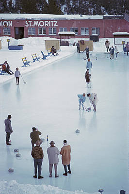 Ski Resort Photograph - Curling At St. Moritz by Slim Aarons