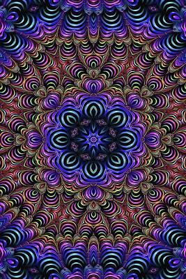 Digital Art - Curly Purple Fractal Kaleidoscope by Cindy Boyd