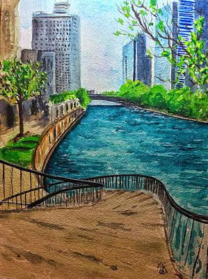 Painting - Curvy Steps on the River Walk by Monika Arturi