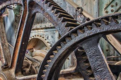 Photograph - Custer Dredge Gears by Leland D Howard