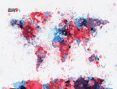 Digital Art - Custom World Map With Logo by Michael Tompsett