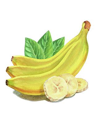 Painting - Cut And Whole Bananas Watercolor Illustration by Irina Sztukowski