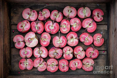 Photograph - Cut Red Apples by Tim Gainey