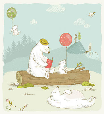 Photograph - Cute Bear Family Relaxing Whimsical Art For Kids by Matthias Hauser