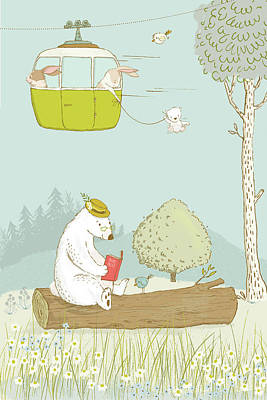 Painting - Cute Bears And Rabbits Whimsical Art For Kids by Matthias Hauser