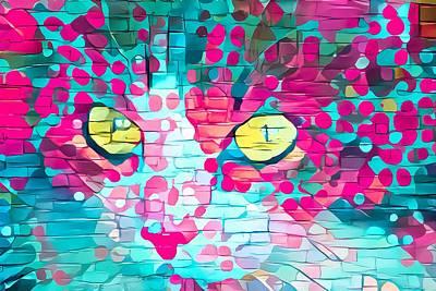 Surrealism Digital Art - Cute Cat Face Pink Paint Daubs by Don Northup