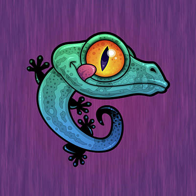 Royalty-Free and Rights-Managed Images - Cute Colorful Cartoon Gecko by John Schwegel