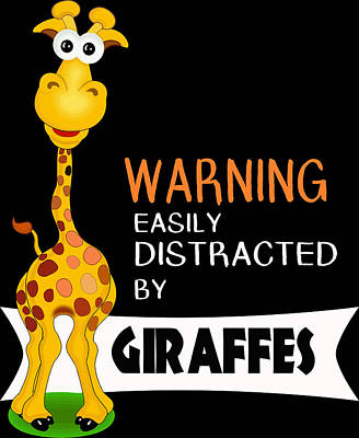 Digital Art - Cute Giraffe Gifts Distracted By Giraffes by Dawn Romine