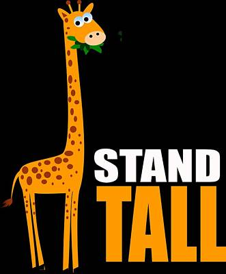 Digital Art - Cute Giraffe Gifts Stand Tall by Dawn Romine