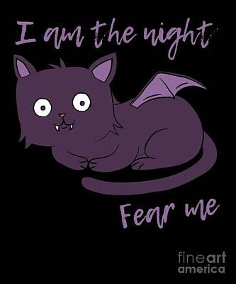 Digital Art - Cute Halloween Cat I Am The Night Fear Me by Flippin Sweet Gear